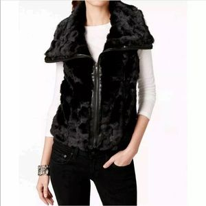 🆕KUT from the kloth Fur Vest Coat Jacket Black